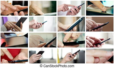 Collage of different people hands texting SMS on smartphones