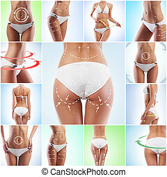 Collage of different photos of female body with drawing arrows. Fat lose, health, sport, fitness, nutrition, weight loss, diet, liposuction, healthy life-style.