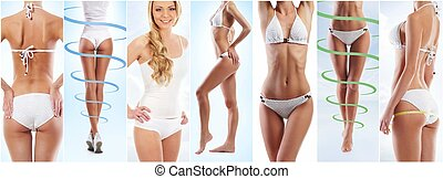 Collage of different photos of female body with drawing arrows. Fat lose, health, sport, fitness, nutrition, weight loss, diet, liposuction, healthy life-style concept.