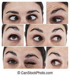 Collage of different pictures showing the eyes of a woman...