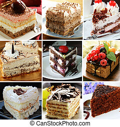 collage of different pieces of cake (vanilla, chocolate,...