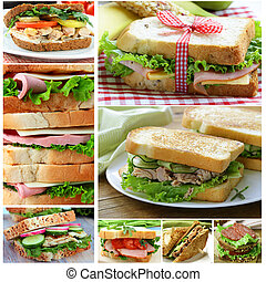 collage of different sandwiches