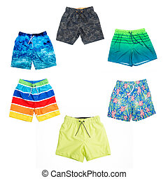 Collage of different shorts for boys of different colors.