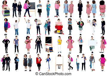 Collage of diligent school children - Collage, education...