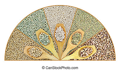 Collage of dried lentils, peas, soybeans, beans with wooden spoon