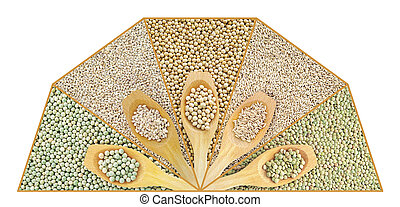 Collage of dry lentil, pea, soybean, oat and barleycorn