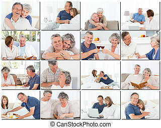 Collage of elderly couples hugging and relaxing while sitting on a sofa
