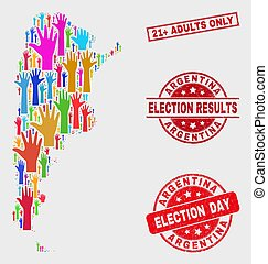 Collage of Election Argentina Map and Scratched 21+ Adults Only Seal