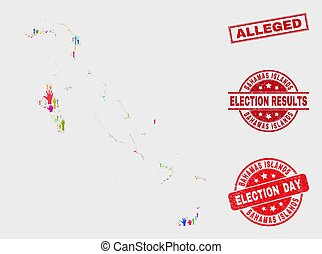Collage of Election Bahamas Islands Map and Scratched Alleged Stamp Seal