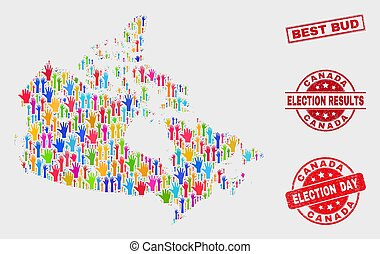 Collage of Election Canada Map and Scratched Best Bud Stamp Seal