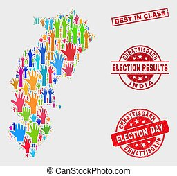 Collage of Election Chhattisgarh State Map and Scratched Best in Class Stamp Seal