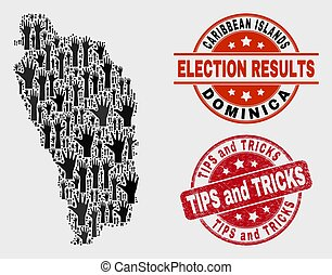 Collage of Election Dominica Island Map and Scratched Tips and Tricks Stamp Seal