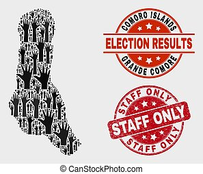 Collage of Election Grande Comore Island Map and Distress Staff Only Stamp