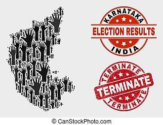 Collage of Election Karnataka State Map and Grunge Terminate Stamp Seal