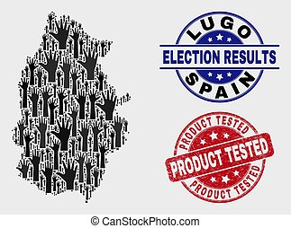 Collage of Election Lugo Province Map and Grunge Product Tested Seal