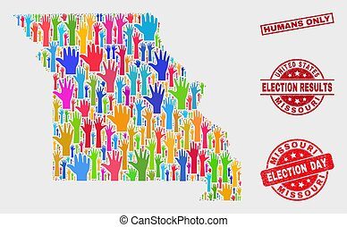 Collage of Election Missouri State Map and Distress Humans Only Seal