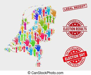 Collage of Election Netherlands Map and Scratched Legal Receipt Stamp Seal