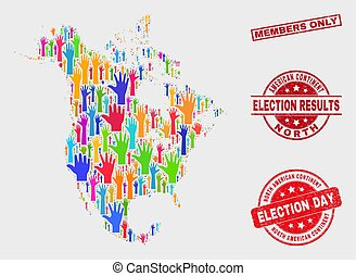Collage of Election North America V2 Map and Distress Members Only Stamp Seal
