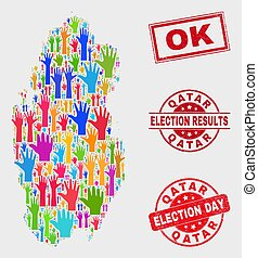 Collage of Election Qatar Map and Scratched OK Stamp Seal