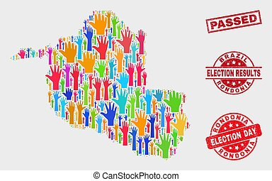 Collage of Election Rondonia State Map and Distress Passed Seal