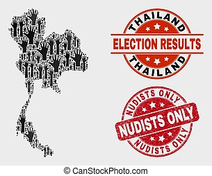 Collage of Election Thailand Map and Distress Nudists Only Seal