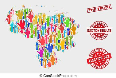 Collage of Election Venezuela Map and Grunge The Truth Stamp Seal