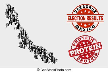 Collage of Election Veracruz State Map and Grunge Protein Stamp Seal