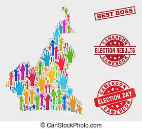 Collage of Electoral Cameroon Map and Distress Best Boss Stamp