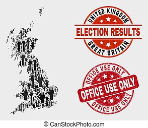 Collage of Electoral Great Britain Map and Distress Office Use Only Watermark