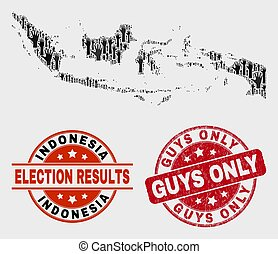 Collage of Electoral Indonesia Map and Distress Guys Only Stamp