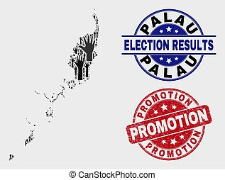 Collage of Electoral Palau Map and Scratched Promotion Stamp Seal