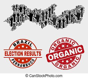 Collage of Electoral Pernambuco State Map and Grunge Organic Watermark