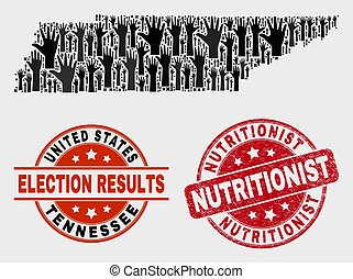 Collage of Electoral Tennessee State Map and Grunge Nutritionist Stamp Seal