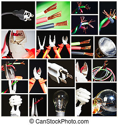 Collage of electrical instruments. - Collage of electrical...