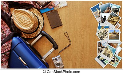 Collage of European landmarks, set of Travel Images. Suitcase and tourist stuff on wooden background