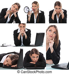 Collage of expressive woman office worker