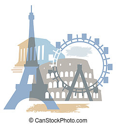 Collage of Famous European buildings, vector illustration