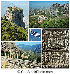 Collage of famous greek landmarks - ancient Delphi town, Meteora