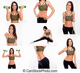 Collage of fit slim muscular woman going in for sports