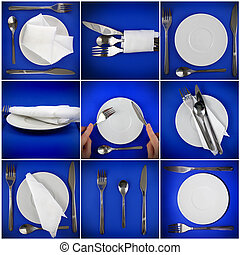 Collage of forks, knifes, plates, spoons on blue.