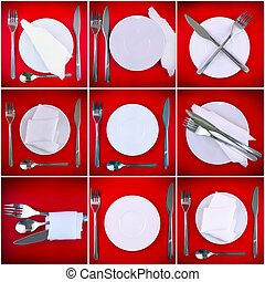 Collage of forks, knifes, spoons on red background.
