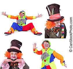 Collage of four pictures: close-up portrait of smiling and fooling around animator in various theater roles. Emotional and colorful