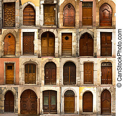 Collage of french wooden doors