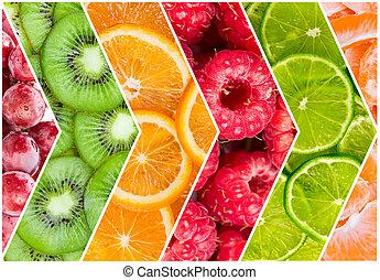 Collage of fresh fruit