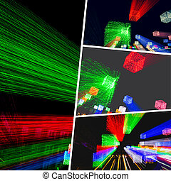 Collage of fuzzy lighting images