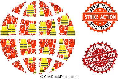 Collage of Gilet Jaunes Protest Globe and Strike Action Stamps