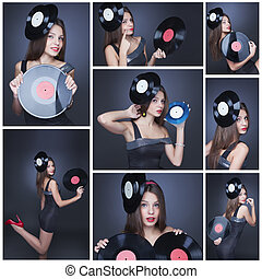 Collage of girl with vinyl records