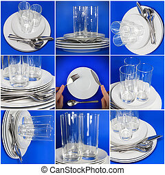 Collage of glasses, plates, covers on blue .