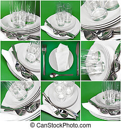 Collage of glasses, plates, covers on green.
