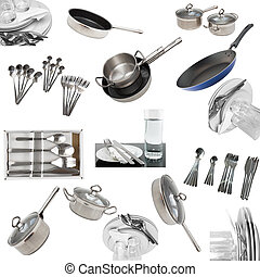 Collage of glasses, plates, dishware, utensil. - Collage of...